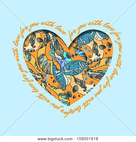 Love card. Turquoise orange heart design with abstract  pattern.