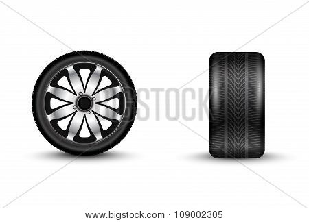 Automobile Wheel 3D Vector Illustration