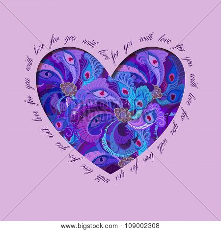 Violet painted peacock feathers heart design. Love card.