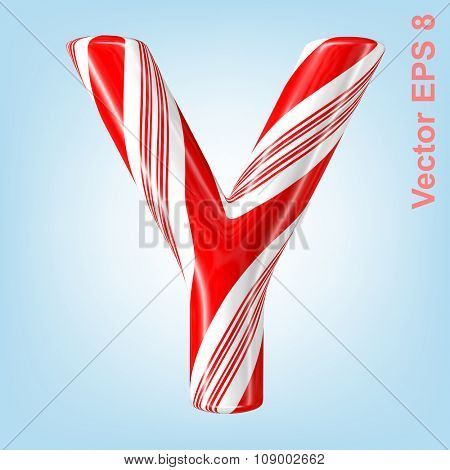 Mint hard candy cane vector alphabet collection striped in Christmas colours. Letter Y. Eps 8 using mesh.