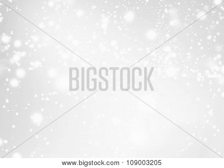 Abstract Background With Christmas Glitter Defocused Bokeh,  Blinking Stars And Snowflakes. Blurred