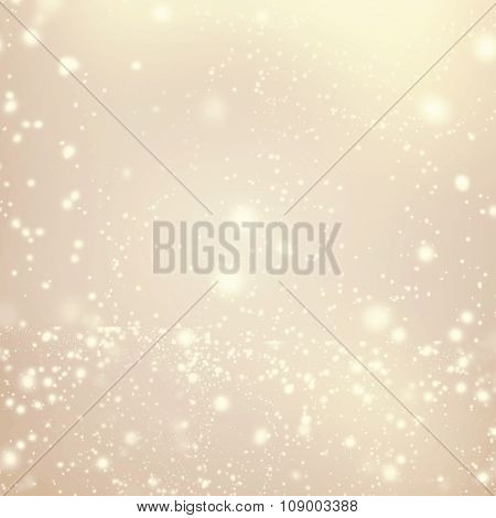 ..abstract Golden Background With White Glitter Defocused Bokeh, Blinking Stars And Snowflakes. Chri