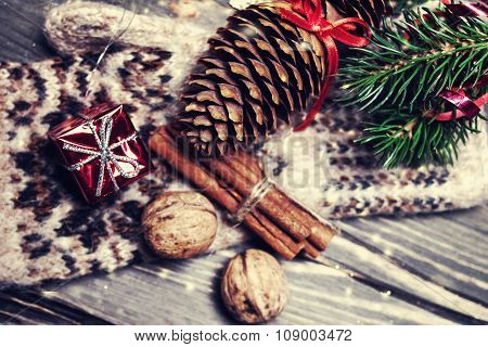 ..christmas Decorations On A Rustic Wood Background, Vintage Retro Style.