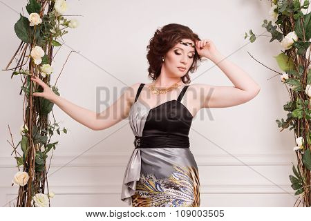 Beautiful Woman In The Vintage Garden