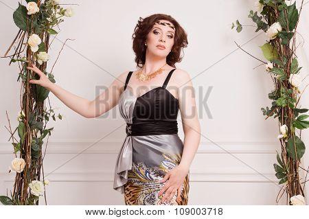 Beautiful Woman In The Vintage Garden