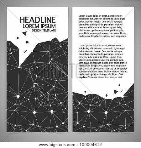 Black and white vector illustration of polygonal background. Stylish black crystal and lattice with