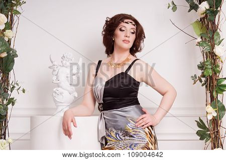 Fashionable Woman In The Vintage Garden