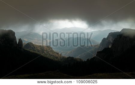 Weather With Storm And Fog In Mountains