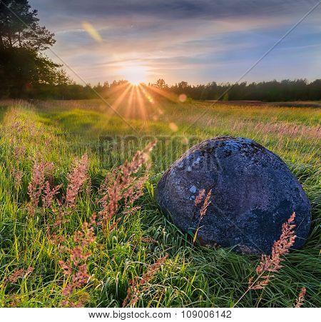 Stone at sunset