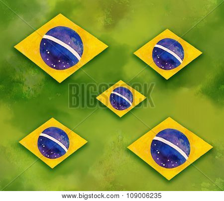 The flag of Brazil seamless background pattern