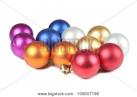Christmas balls in box on white background