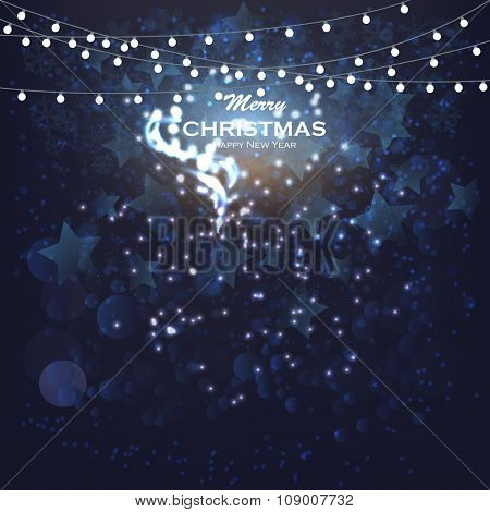 vector glittering stars on bokeh background. Christmas Card Invitation with fairy lights, fireworks, bokeh