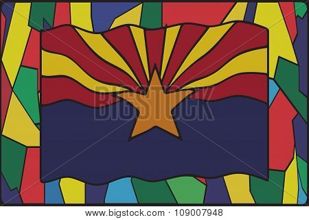 Arizona Flag On Stained Glass