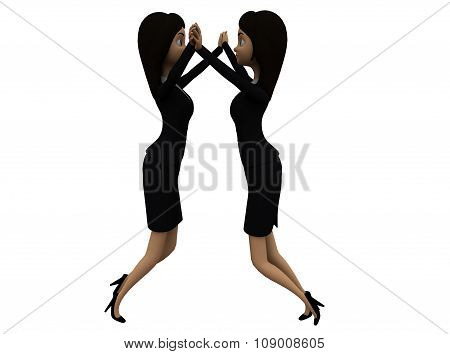 3D Women  Clapping Each Other With Their Hands Concept