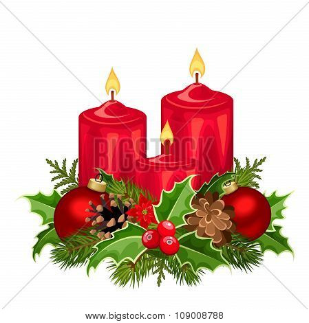 Red Christmas candles. Vector illustration.