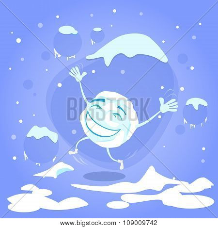Snowball Happy Excited Jumping Up Laughing Winter Ball