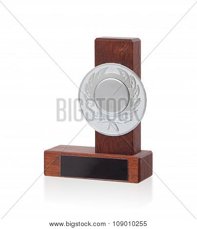 Isolated Image Of An Od Trophy Made From Wood