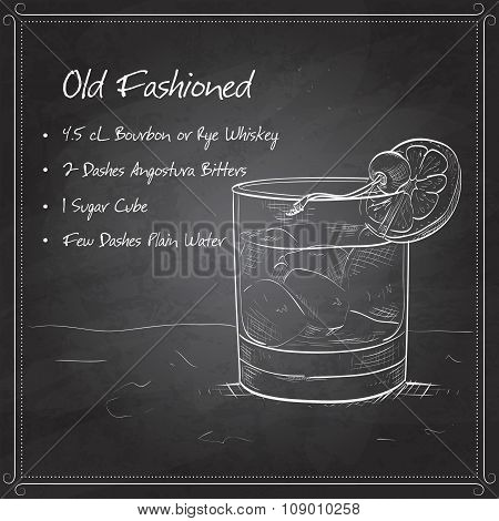 Old fashioned cocktail on black board