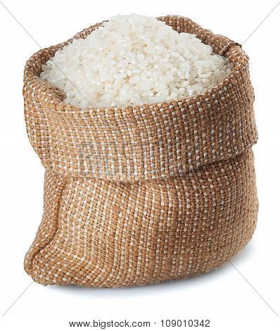 White Rice In Burlap Sack Isolate