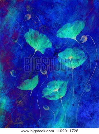 Painting Color poppy on color background. Color flower on abstract  background.