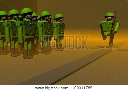 Green soldiers against the yellow background, marching in a parade.