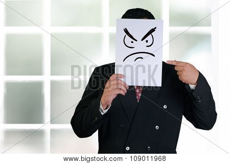 Businessman Wearing Angry Face Mask