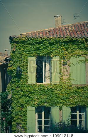 Overgrown Wall Of Residential Building Facade