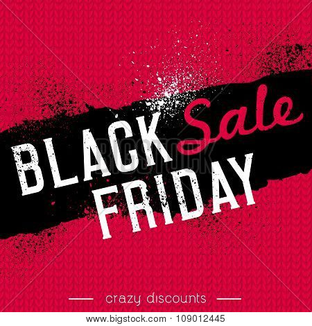 Black Friday Sale Banner On Red Knitwear Background, Vector