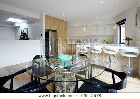 Kitchen With Open Plan Dining Area In Modern Australian Home