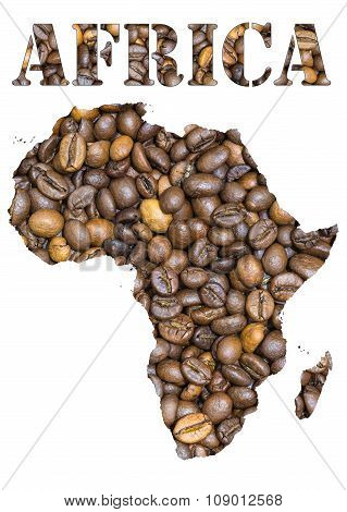 Africa Word And Geographical Shaped With Coffee Beans Background