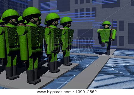 A platoon of soldiers on the parade ground