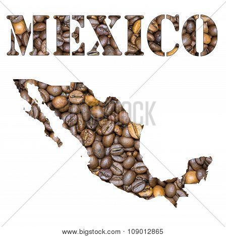 Mexico Word And Country Map Shaped With Coffee Beans Background