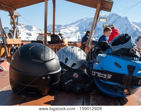 DOLOMITES ALPS, ITALY - FEB 17, 2015: Skiing area in the Dolomites Alps. Overlooking the Sella group in Val Gardena. Italy