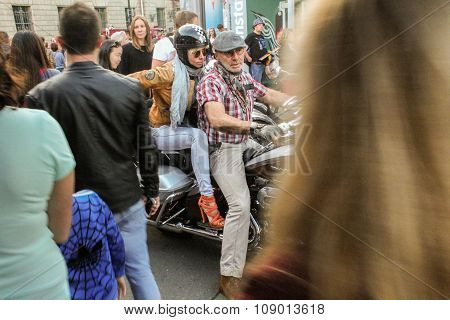Biker Couple On A Motorcycle.