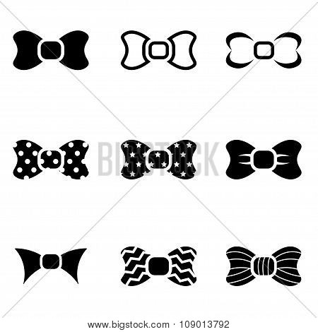 Vector black bow ties icon set