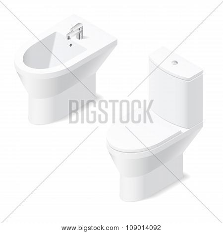 Toilet And Bidet Isometric Icon