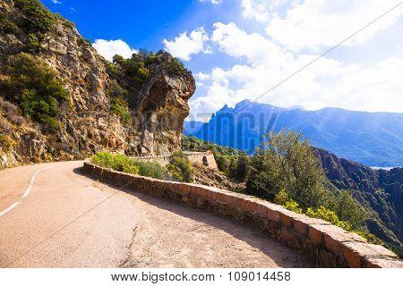 scenic roads of Corsica island