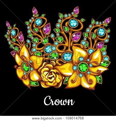 Precious Golden crown with jewels and floral ornament on a black background