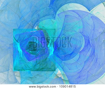 Abstract Fractal Design. Blue Clouds.