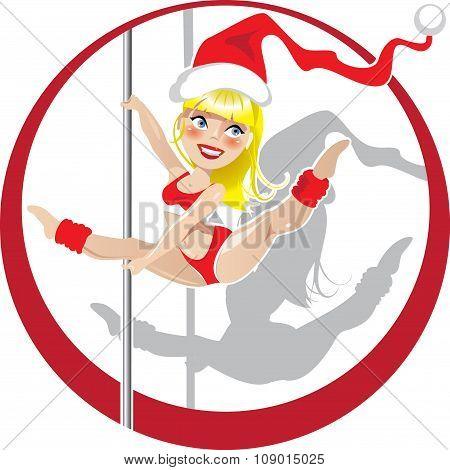 Christmas pole dancer