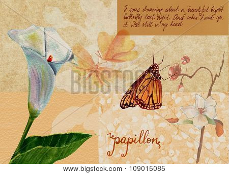 Vintage style collage with calla and other flowers, butterflies, French calligraphy on old paper