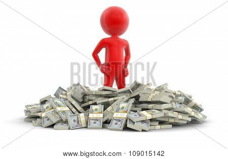 Pile of Dollars and man (clipping path included)