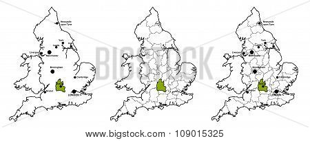 Oxfordshire located on map of England