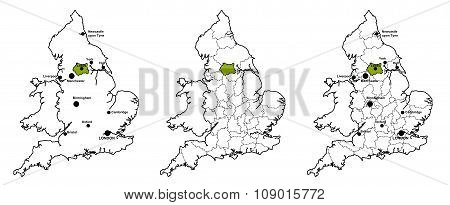 West Yorkshire located on map of England