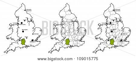 Wiltshire located on map of England