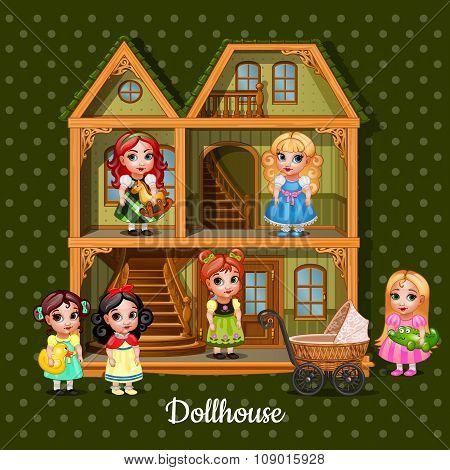 Modern three-storey dolls house with six dolls