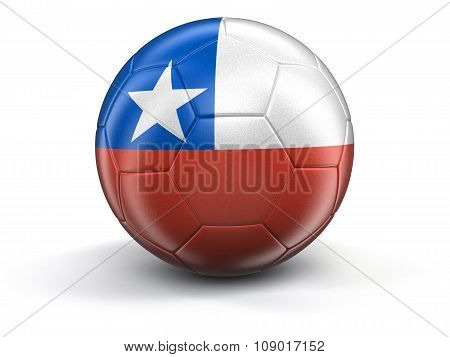 Soccer football with Chilean flag