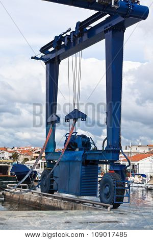 Big Crane For A Ship Maintenance In A Marina