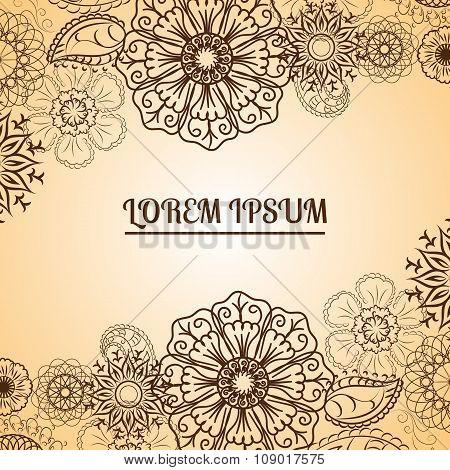 Henna Flowers Mehndi Design Vector Element Eps 10
