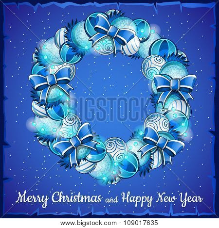 Christmas wreath of balls, a holiday card in blue